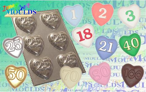 Heart Plaster Moulds with ages on them!